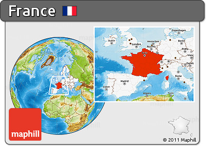 Physical Location Map of France, highlighted continent
