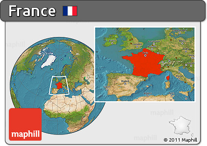 Satellite Location Map of France
