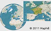 Satellite Location Map of France, lighten, land only