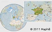 Satellite Location Map of France, lighten