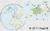 Savanna Style Location Map of France, lighten