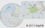 Savanna Style Location Map of France, lighten, semi-desaturated