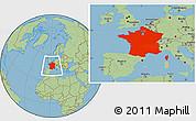 Savanna Style Location Map of France