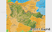 Satellite Map of Moselle, political shades outside