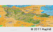 Satellite Panoramic Map of Moselle, political shades outside