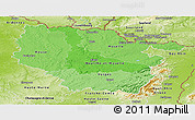 Political Shades Panoramic Map of Lorraine, physical outside