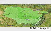 Political Shades Panoramic Map of Lorraine, satellite outside