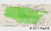 Political Shades Panoramic Map of Lorraine, shaded relief outside