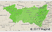 Political Shades Map of Vosges, shaded relief outside