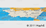 Shaded Relief Panoramic Map of Vosges, political shades outside