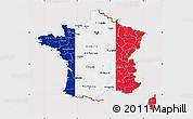 Flag Map of France, flag centered