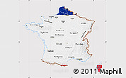 Flag Map of France, flag aligned to the middle