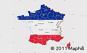 Flag Map of France, flag rotated