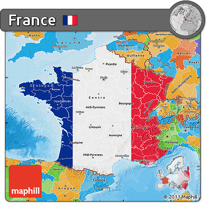 Free Flag Map of France political outside
