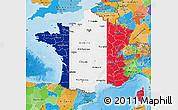 Flag Map of France, political outside