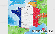 Flag Map of France, political shades outside