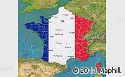Flag Map of France, satellite outside