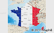 Flag Map of France, shaded relief outside