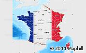 Flag Map of France, single color outside, bathymetry sea