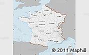 Gray Map of France, single color outside