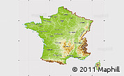 Physical Map of France, cropped outside