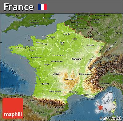 Free Physical Map of France darken