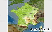 Physical Map of France, darken