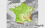 Physical Map of France, desaturated
