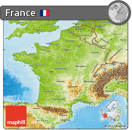 Free Physical Map of France