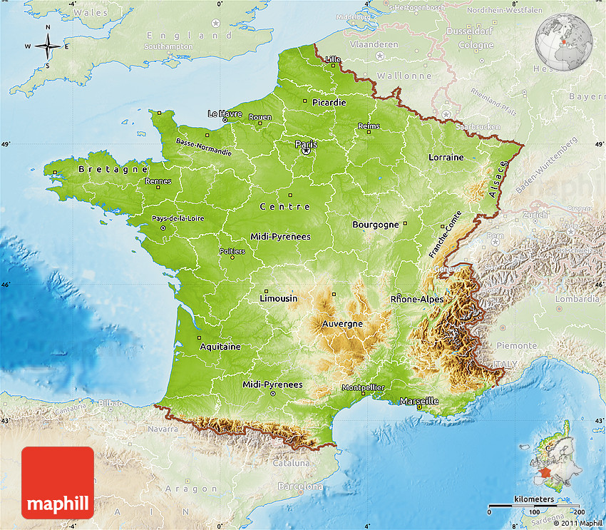 Physical Map of France, lighten, land only