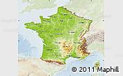 Physical Map of France, lighten