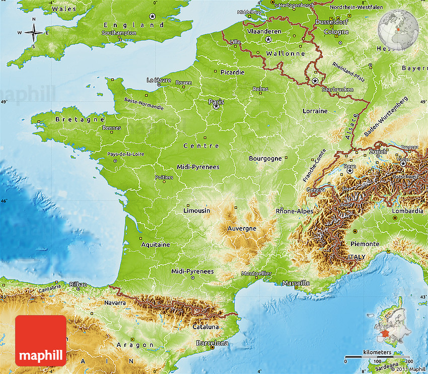 Map Of South East France.Physical Map Of France