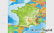 Physical Map of France, political outside, shaded relief sea