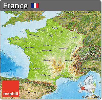 Free Physical Map of France satellite outside shaded relief sea