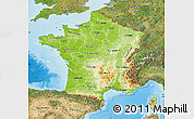 Physical Map of France, satellite outside, shaded relief sea