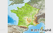 Physical Map of France, semi-desaturated, land only