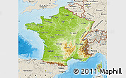 Physical Map of France, shaded relief outside