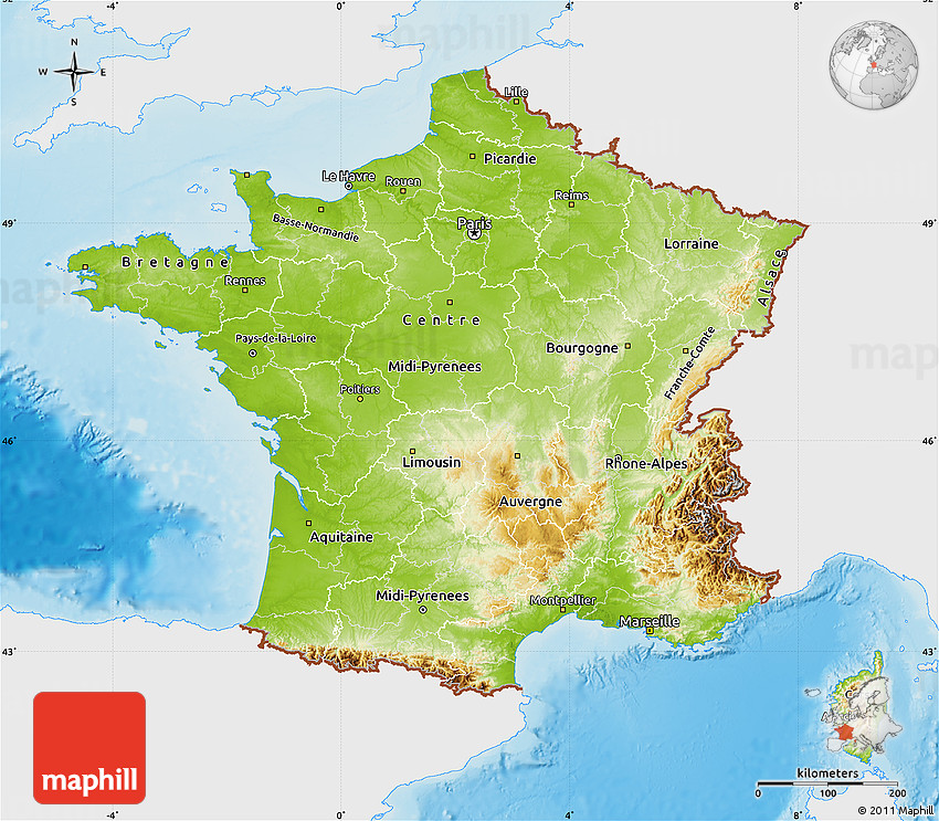 Physical Map of France single color outside