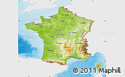 Physical Map of France, single color outside