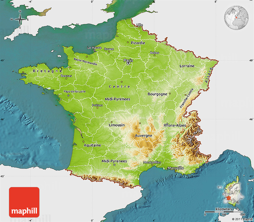 Physical Map of France, single color outside, satellite sea