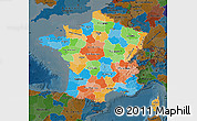 Political Map of France, darken