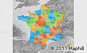 Political Map of France, desaturated