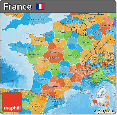 Free Political Map of France