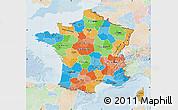 Political Map of France, lighten