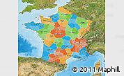 Political Map of France, satellite outside, bathymetry sea