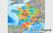 Political Map of France, semi-desaturated, land only