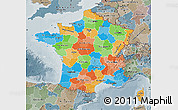 Political Map of France, semi-desaturated