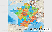 Political Map of France, shaded relief outside, bathymetry sea