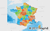 Political Map of France, single color outside