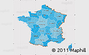 Political Shades Map of France, cropped outside